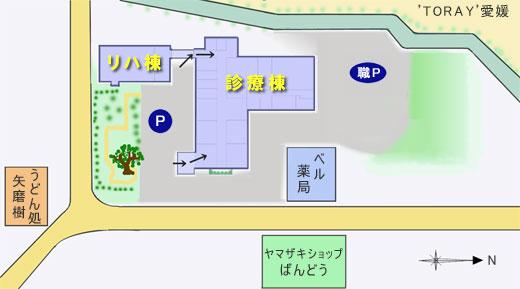 松前病院 建物周辺図